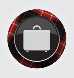 Button with red black tartan - suitcase icon vector