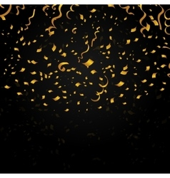 Gold confetti on black background festive vector