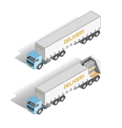 Isometric set truck inside and outside vector image