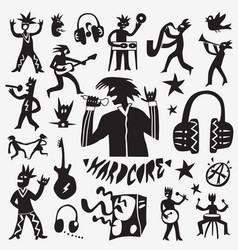 rock music doodles vector image vector image