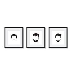 set of three bearded men icons vector image