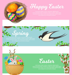 spring and happy easter web banners set vector image vector image