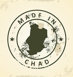 Stamp with map of Chad vector image vector image