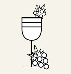 Wine glass with grape fruit vector