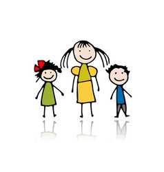 mother with children sketch for your design vector image vector image