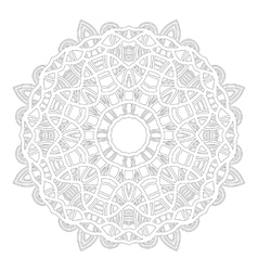 Round ornament for coloring books black white vector