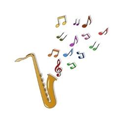 Saxophone color vector image