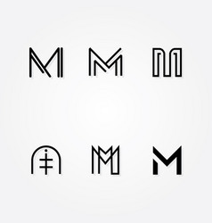 various letter m big logo typo pack vector image vector image