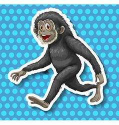 Black monkey walking and smiling vector image vector image