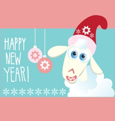 Christmas card with a symbol of the year sheep vector image
