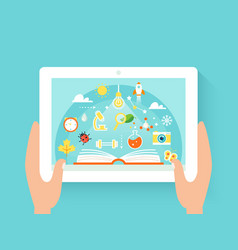 hands holding tab with education app vector image