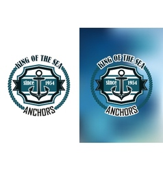 King of the sea anchors emblem vector image