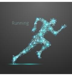 Polygonal running man vector image