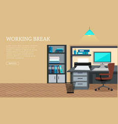 workplace concept web banner in flat design vector image