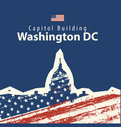 capitol building in washington dc with usa flag vector image