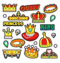 Crowns Golden Decorative Elements for Stickers vector image