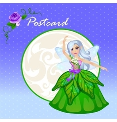 Cute doll forest elf in green dress vector image vector image