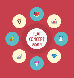 flat icons pigeon sparkler brilliant and other vector image vector image