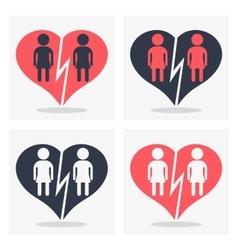 gay girl couple with broken heart vector image