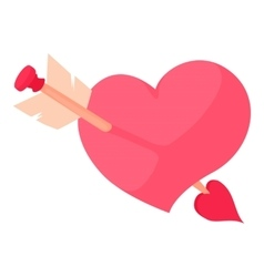 Pink heart with arrow icon cartoon style vector image vector image
