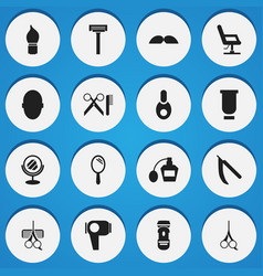 set of 16 editable barber icons includes symbols vector image vector image