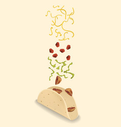 stages of preparation mexican taco vector image