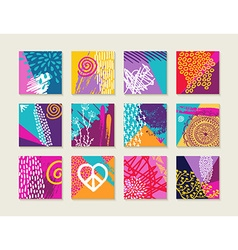 Summer set of colorful cards with happy designs vector image vector image
