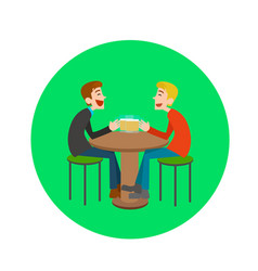 two happy male drinking beer in bar vector image vector image