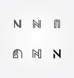 various letter n big logo typo pack vector image vector image
