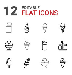 12 flavor icons vector image