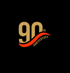 90 year anniversary gold template design vector
