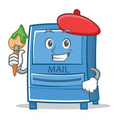 artist mailbox character cartoon style vector image