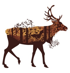 Autumn Forest Landscape and Deer4 vector