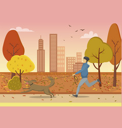 Autumn park and guy running with dog on leash vector