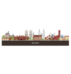 background with belarus country buildings and vector image