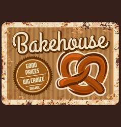 bakehouse rusty metal plate bakery shop ad vector image