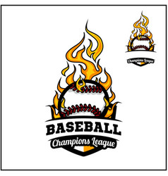 Baseball ball flame badge vector