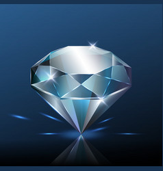 Big pure blue diamond with glitter vector