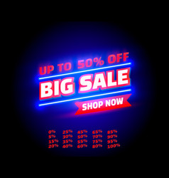 big sale off shop new neon banner set collection vector image