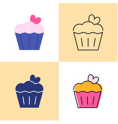 Birthday cake with heart icon set in flat and line vector
