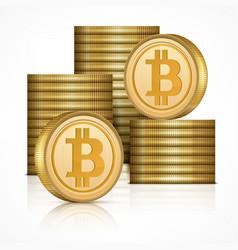 bitcoin golden coins stack vector image