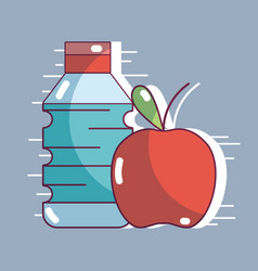 Bottle of water with fresh apple fruit vector