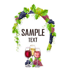 Card template with glasses of wine vector