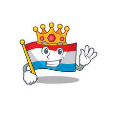 Cartoon flag luxembourg isolated in character king vector