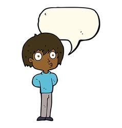 Cartoon impressed boy with speech bubble vector