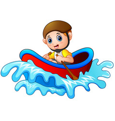 cartoon little boy rowing a boat on a white backgr vector image