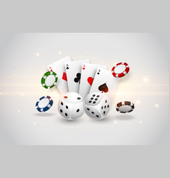 casino playing cards dice and flying chips vector image