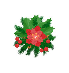 christmas decoration poinsettia flower mistletoe vector image