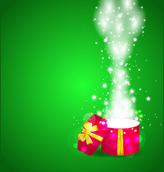 Christmas magic gift box open vector