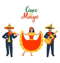 cinco de mayo 5th may mexican musicians sing vector image